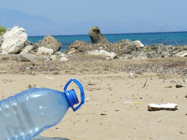 Botella abandonada en la orilla. Fuente Pixabay